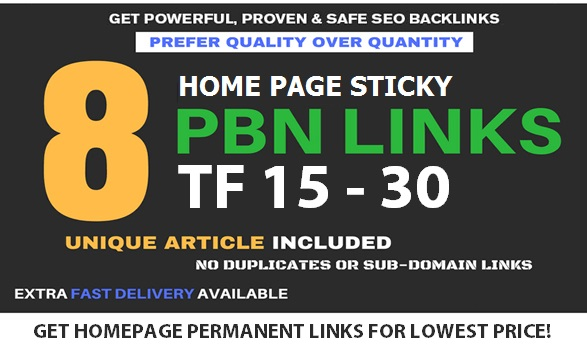 Get 8 Home Page Forever PBN Backlinks With TF 15 - 30+