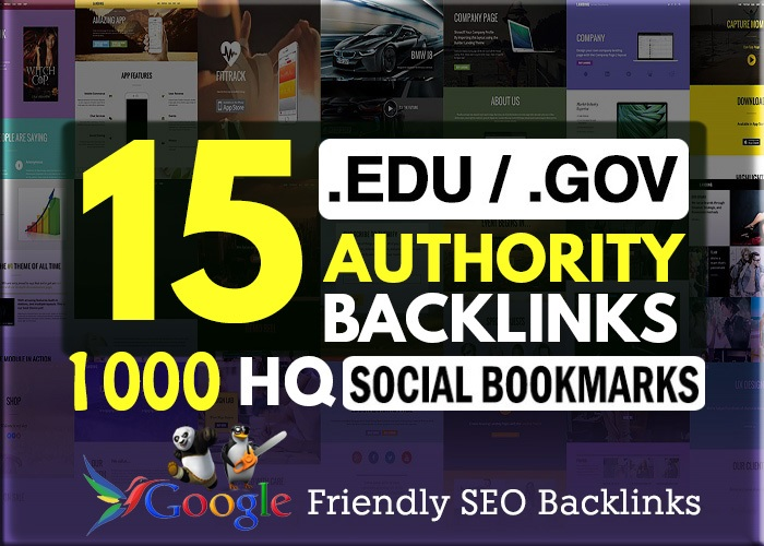 15. EDU. GOV + 1000 HQ Social Bookmarking Backlinks