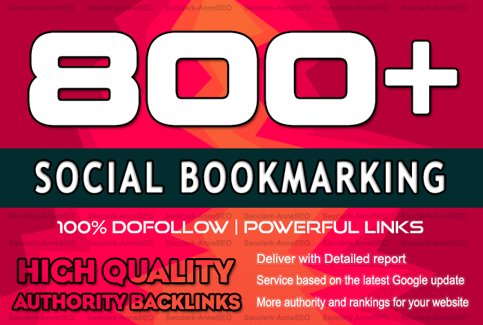 800 Social Bookmarking Backlinks which will ultimatel...