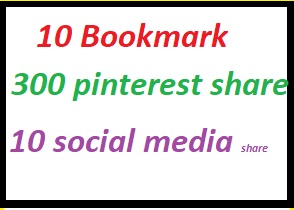 20 Bookmark+200 pinterest share +15 social media shar...