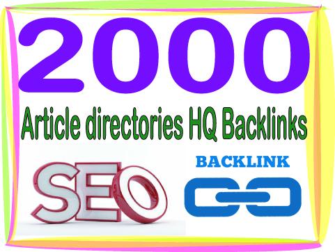 Get 2000 HQ PR Panda safe Contextual & Unique Article directories Backlinks