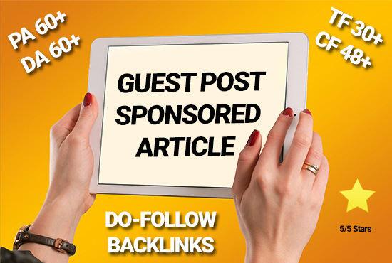 15 Real Guest Post DA 50- 95+ High PR Backlink (No PBN) (Limiited Offer only)