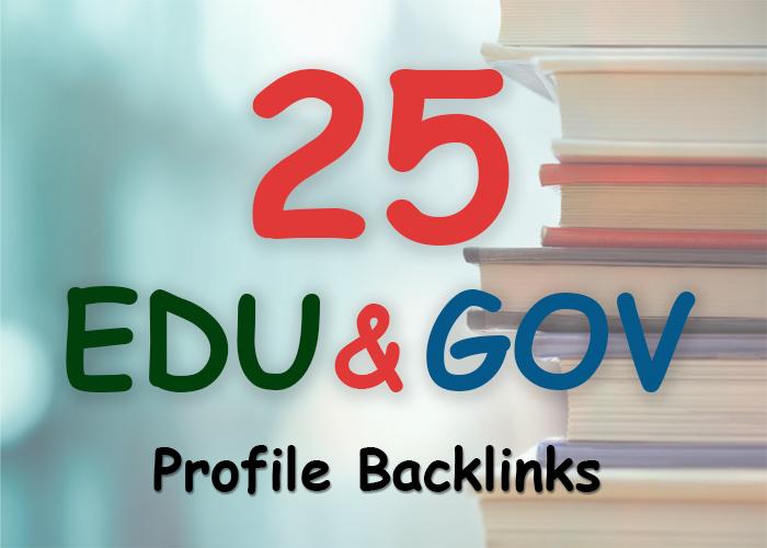Manually build 25. edu and. gov safe seo friendly backlinks