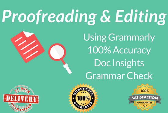 Proofread & Edit 1500 words through Grammarly Premium Tool
