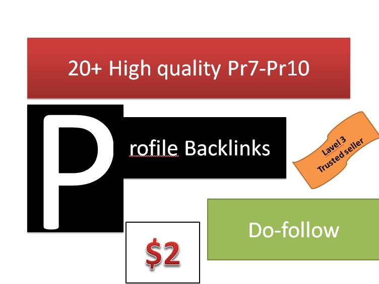 Get You 20+ high quality Profile backlinks Manually create