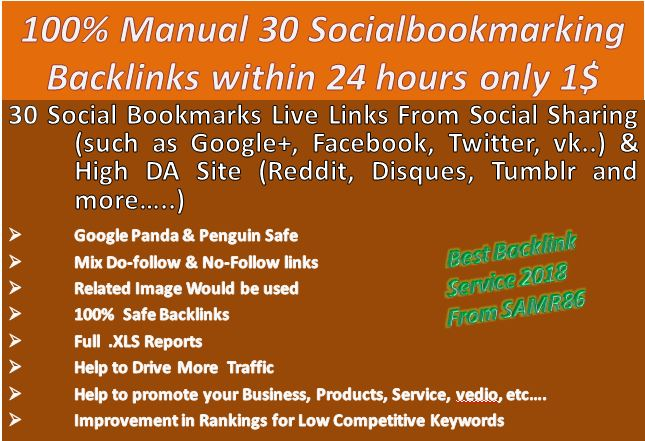 Instant 30 live Social Bookmarking links For Your Web...