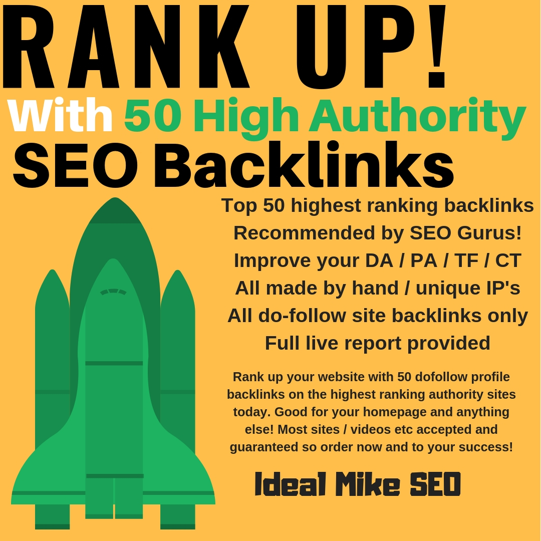 Rank Up! with High Authority Dofollow SEO Web 2.0 Portfolio Profile Backlinks