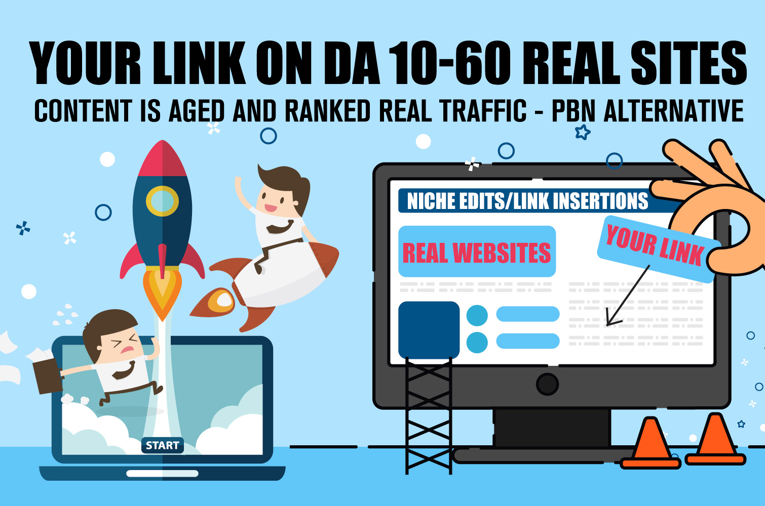 Niche Edit Backlinks - Real Power Real Sites PBN Alternative | DA10-60 links