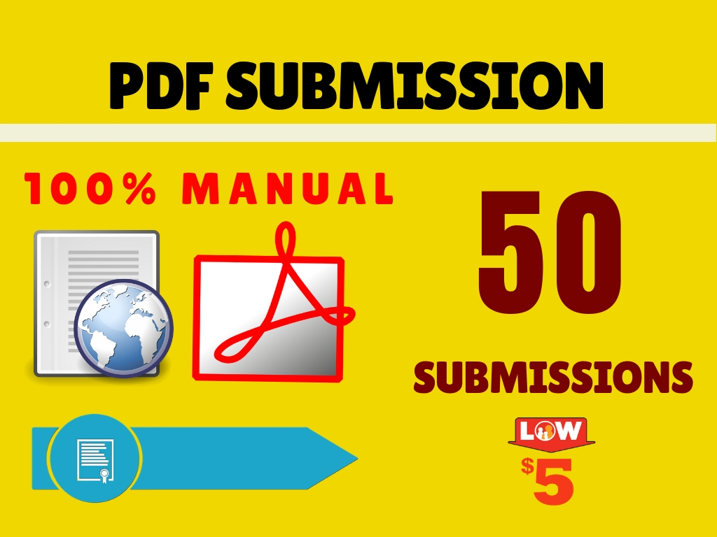 Manual PDF Submission or Document Submissions 50 High DA Sites