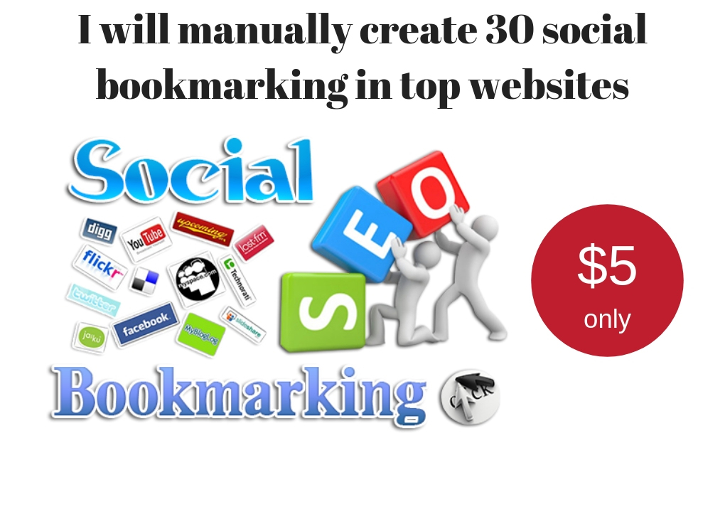 Creat social bookmarking in 30 high authority websites manually