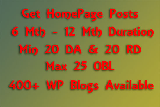 Affordable Bulk Homepage Posts 6  12 Months Duration on Sites DA 20+ amp RD 20+