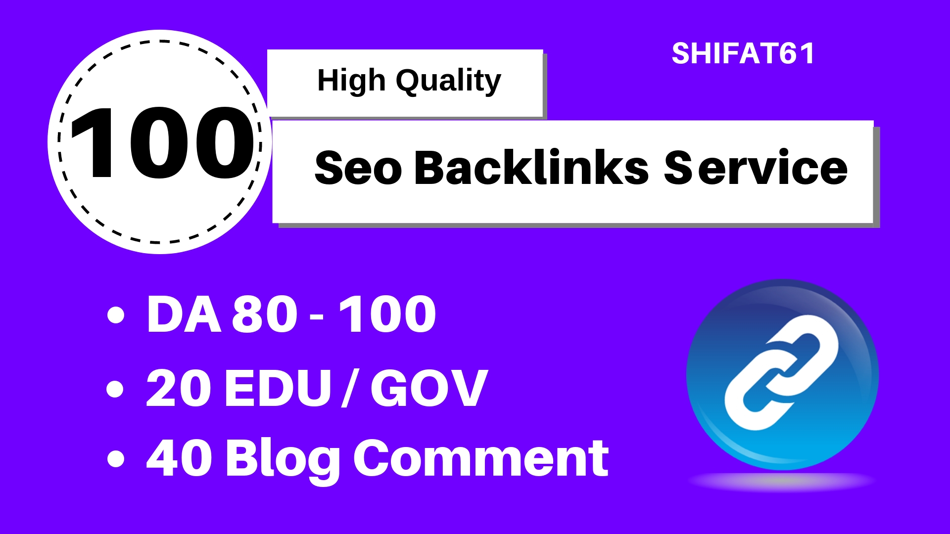 40 PR9+20 EDU/GOV+40 Blog Comment,  Build 100 HIGH-QUALITY Backlinks