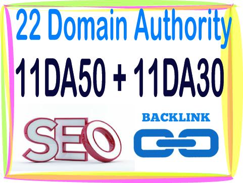 Get 22 DA Domain Authority 11 DA50 - 11 DA30-High Quality backlinks