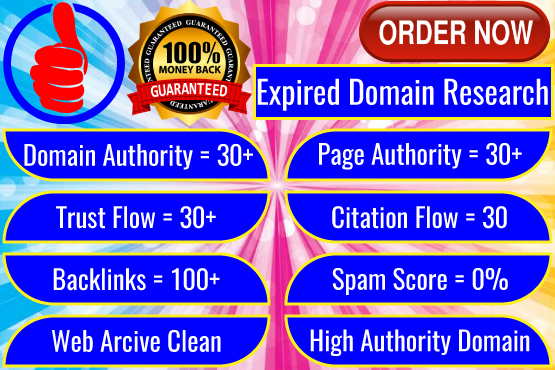 5 expired domain research spam free and backlinks will be 50+