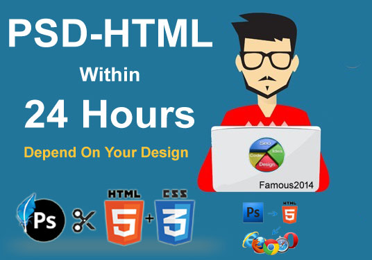 Convert your PSD file into HTML using bootstrap 4x wi...