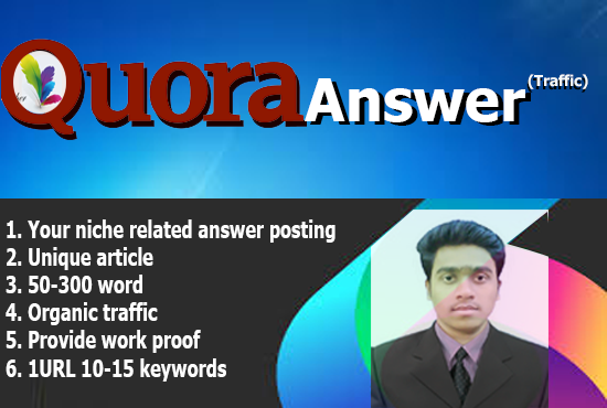 High  Quality Quora Answer posting plus Backlinks