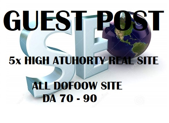 Do Write Publish 5x High Authority Guest Post Da93 To 70,  Not Pbn, From Real Sites