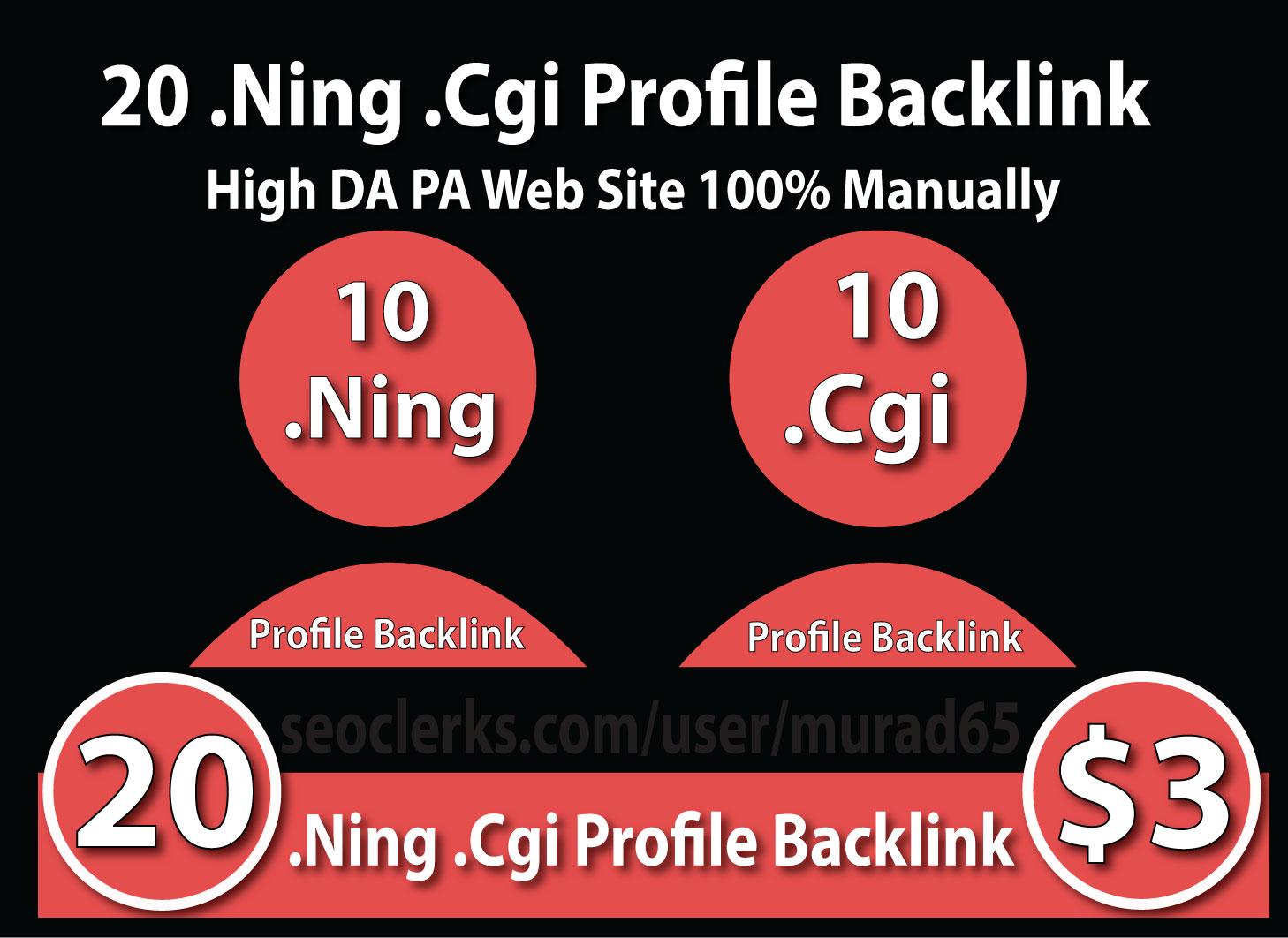 20 Profile Backlink .Ning .Cgi High DA PA Site Hand Made