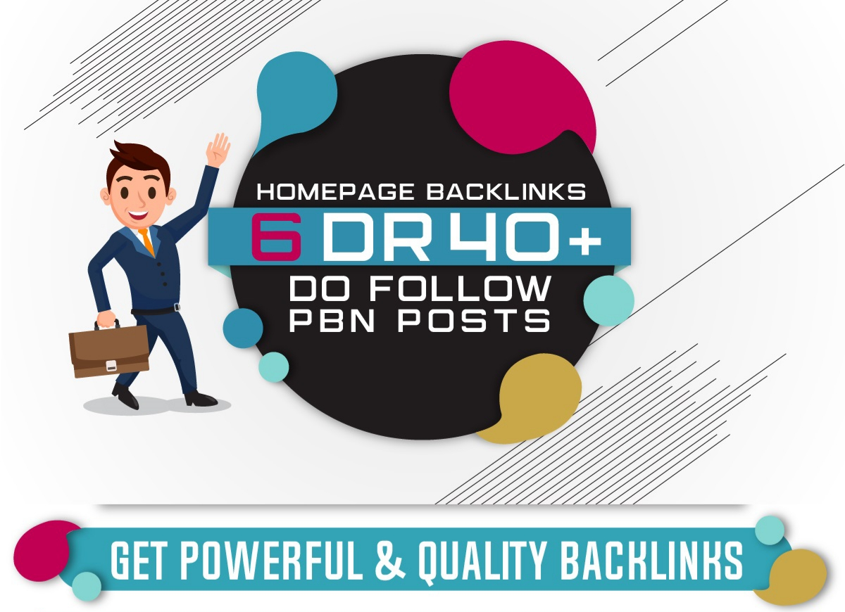 6 DR +40 PBN Homepage Dofollow Links