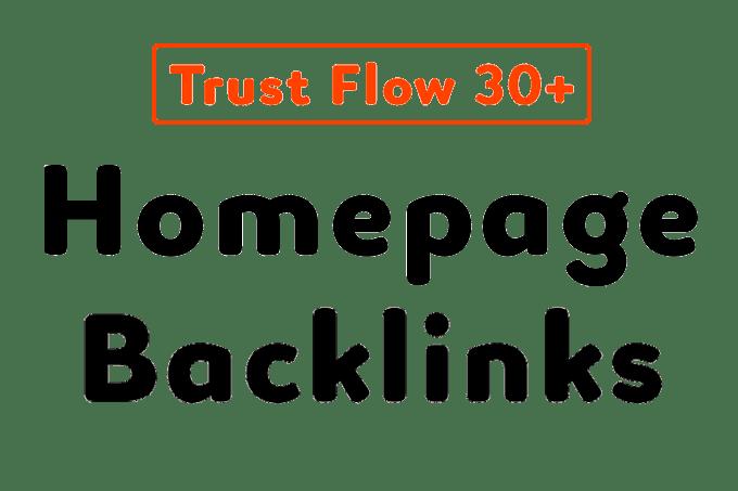 do homepage SEO backlinks high trust flow 30