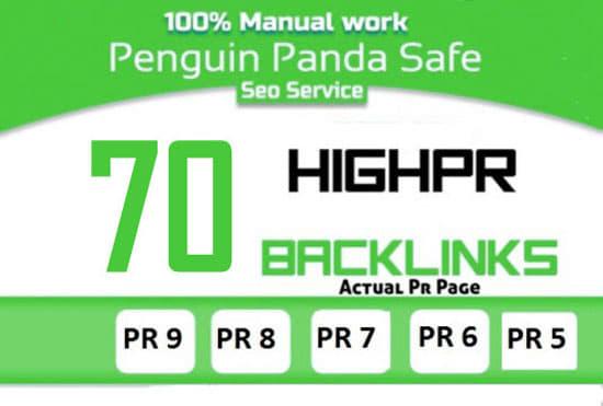 do manual 70 SEO backlinks,  to website improving