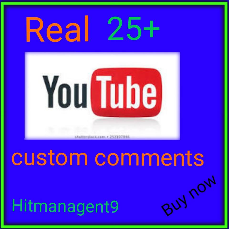 Guaranteed 25+ YT Custotom cmnt Non Drop