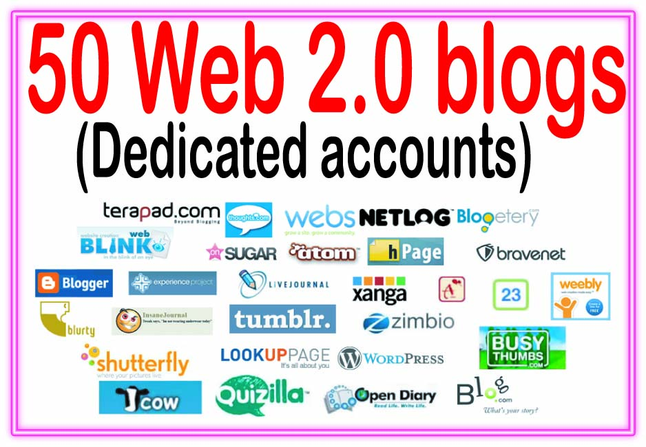 Add 50 Unique Web 2.0 blogs SEO Backlinks On High PR Sites