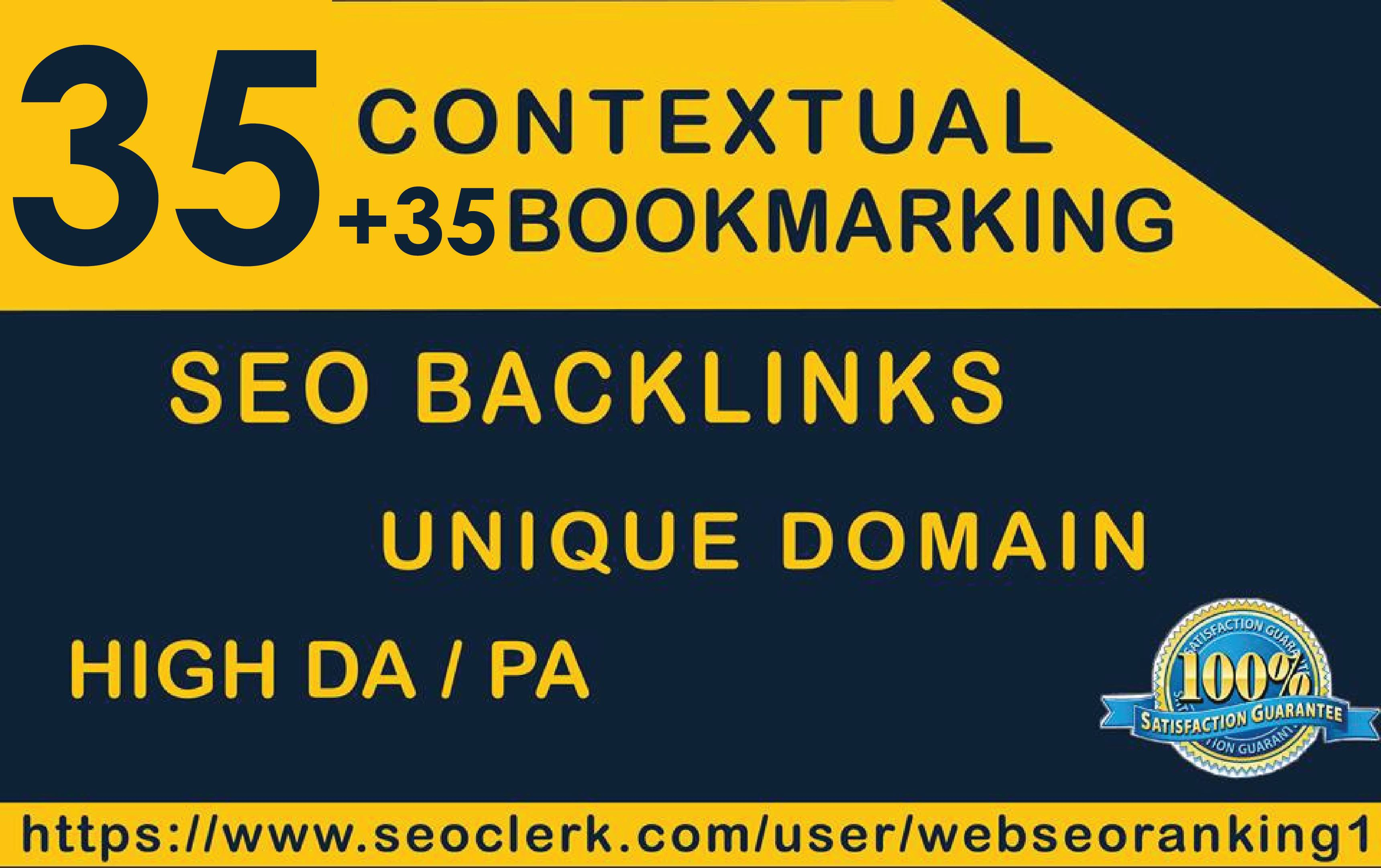 Seo Backlinks  35 Contextual + 35 SOCIAL Bookmaking Unique Domain
