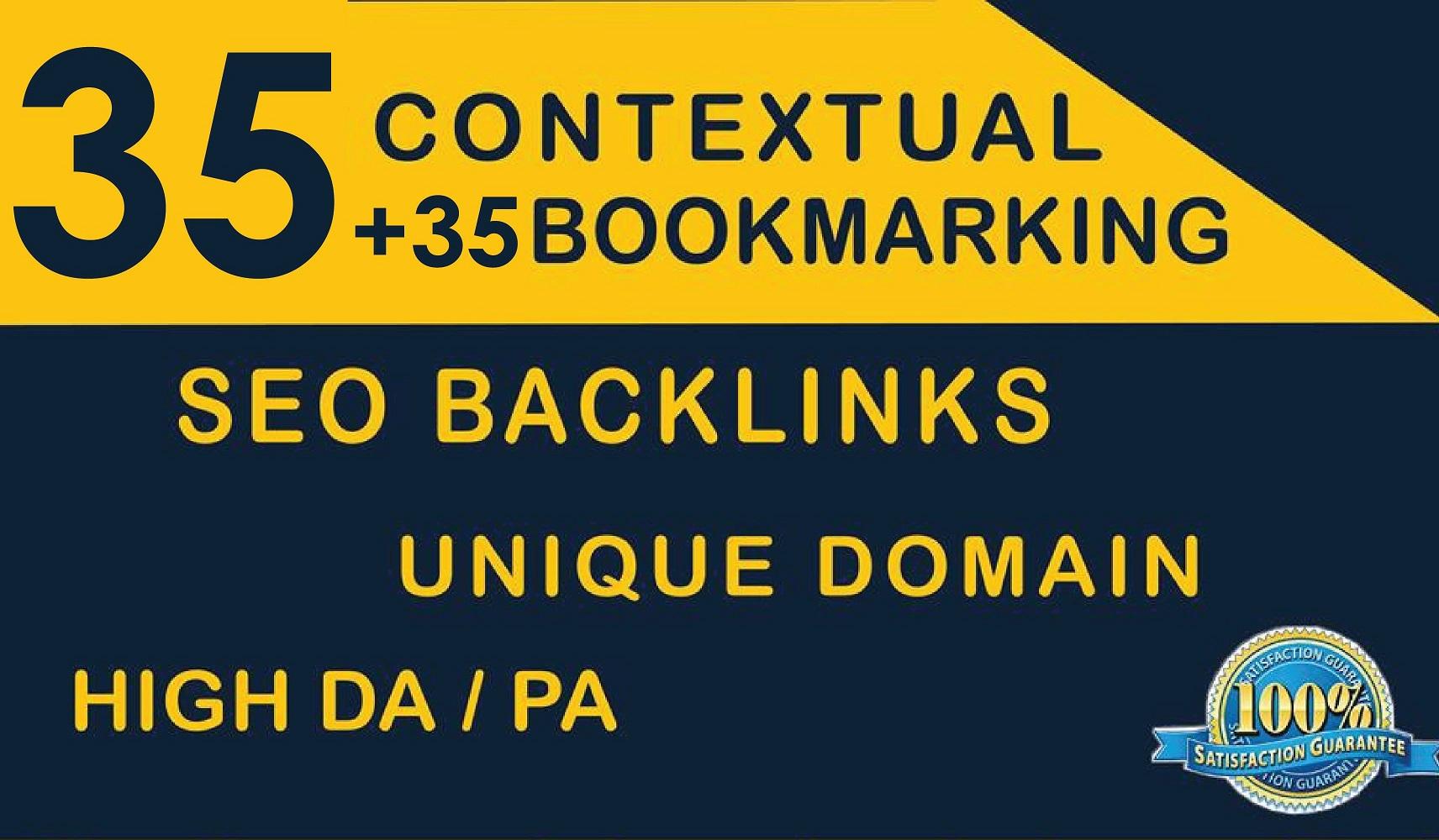 Build Seo Backlinks 35 Contextual + 35 SOCIAL Bookmaking Unique Domain High DA PA