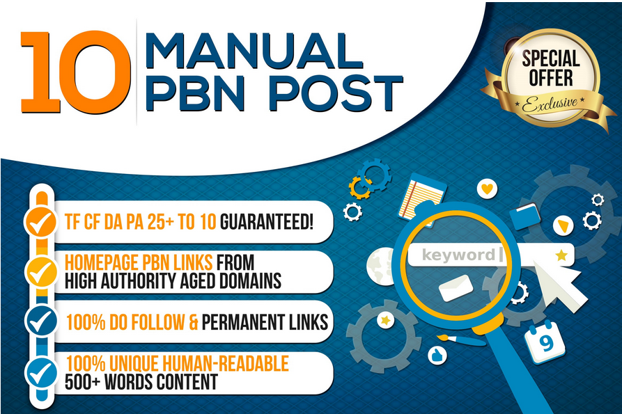 10 manual pbn post dofollow backlinks high quality promotion