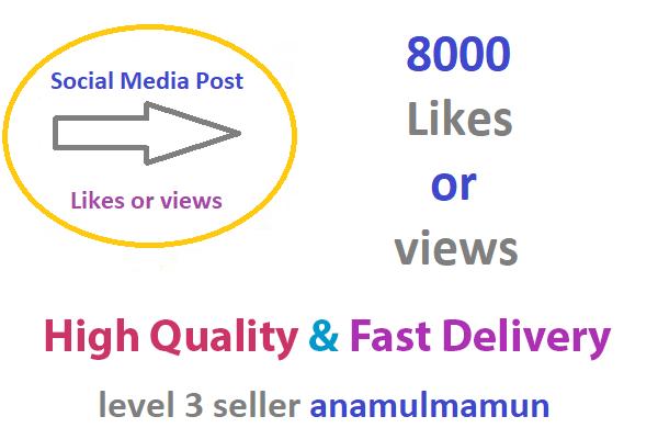Instant  8000  Social Media post Likes Or 8000  Social Media video Views