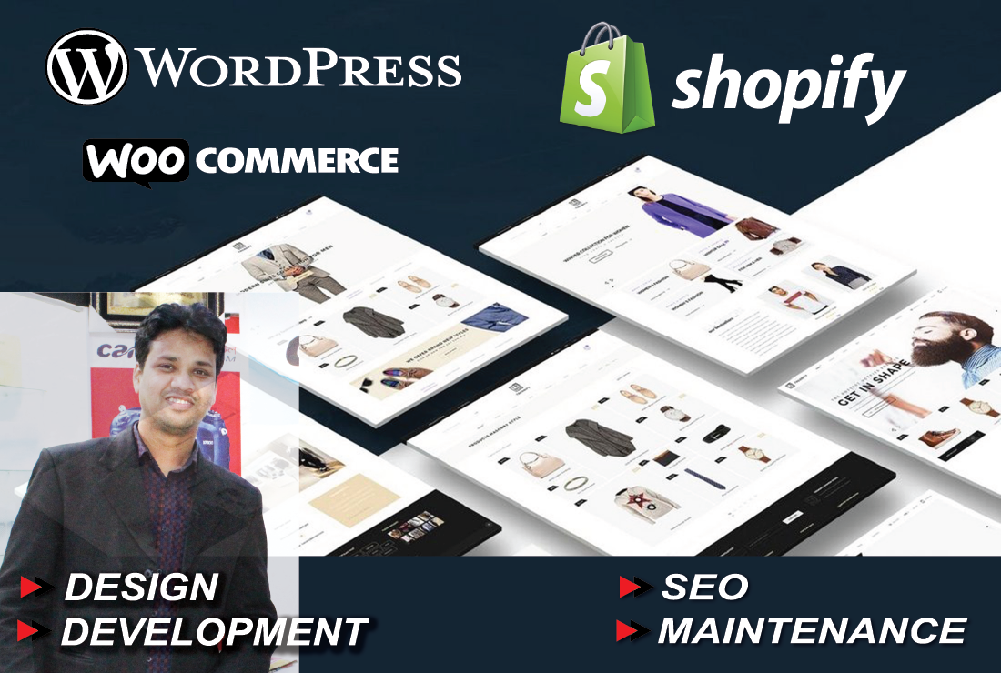 Wordpress and Shopify website design and develop with white hat or label SEO 30-90 days