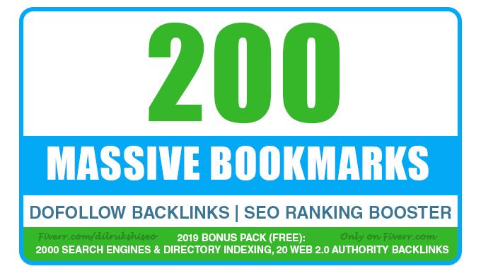 add 200 Social Bookmarking Backlinks for maximum resu...