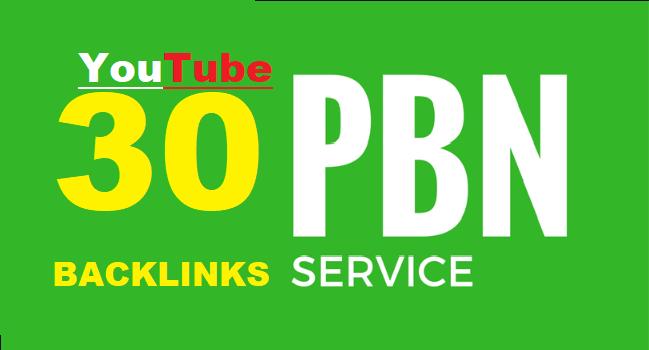 30 Youtube PBN Backlinks using High PA DA sites