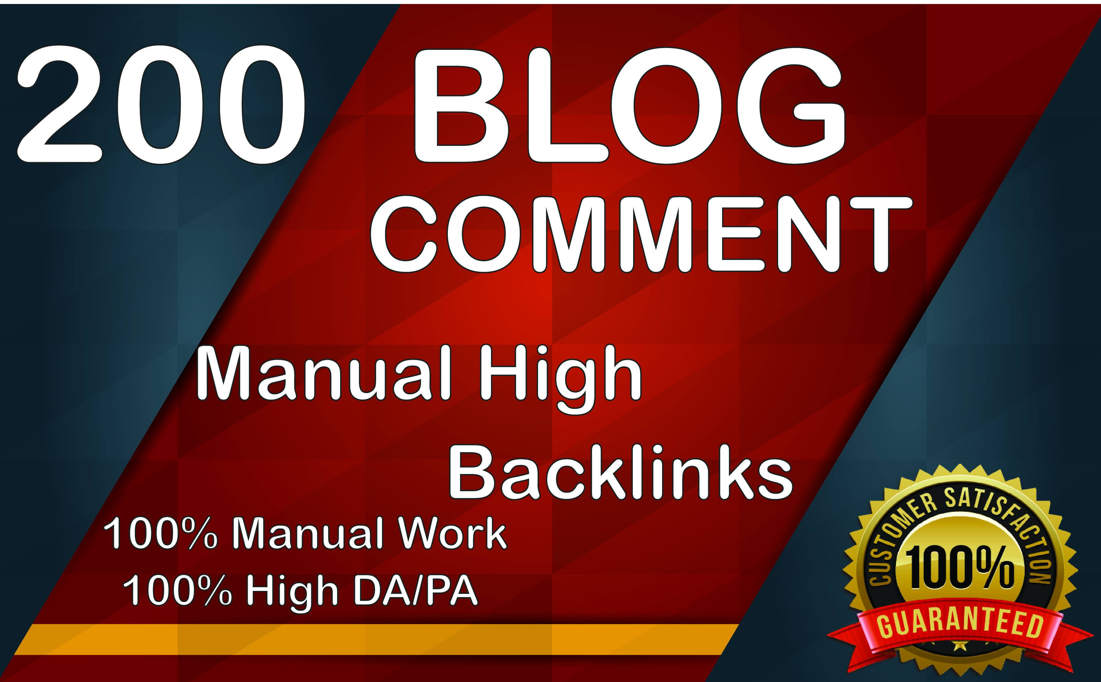 200 Manually Blog Comment Unique Domain SEO Backlinks High DAPA