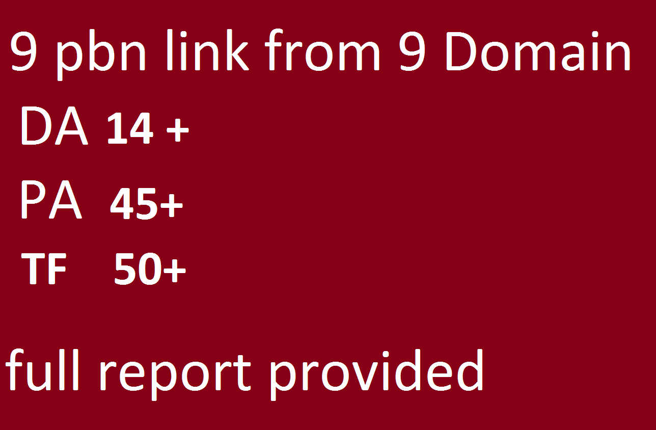 9 Pbn Links From High Da, Pa,Tf Seo Dofollow Backlinks