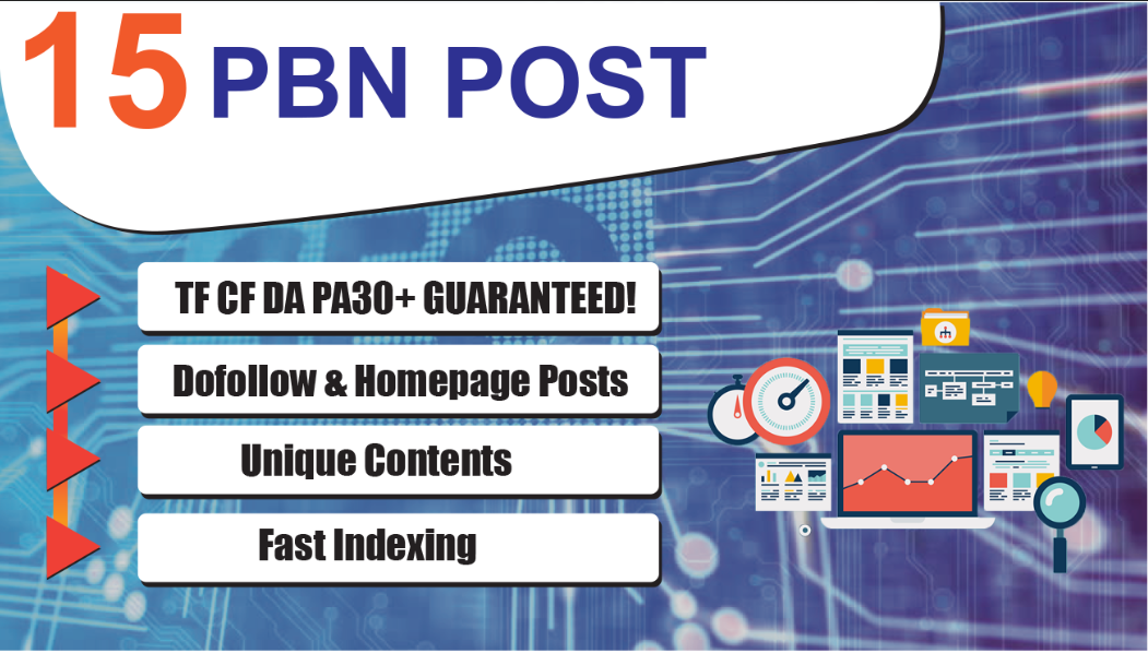15 Dofollow & Homepage PBN Backlinks - DA PA TF C...