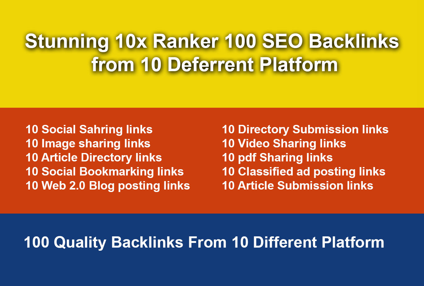 Stunning and Faster 10x Ranker 100 SEO Backlinks from 10 Different Platforms