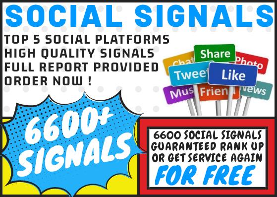 6600 Social Signal Bookmarks on Top 5 Social Media Platforms Rank Up Guaranteed or get FREE Service