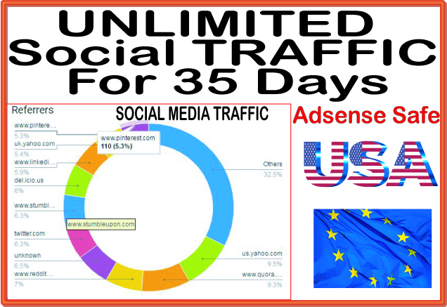 Do UNLIMITED genuine real web traffic for 35 days from main search engines & social site
