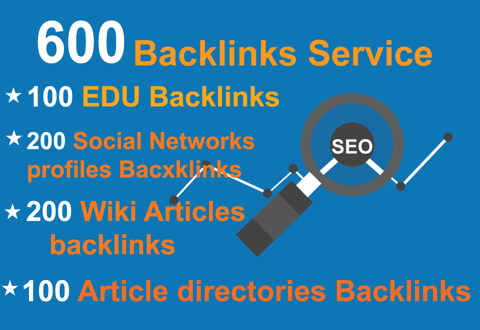 100 EDU, 200Social Networks profiles, 200 Wiki ariticles, 100 Article directories Backlinks