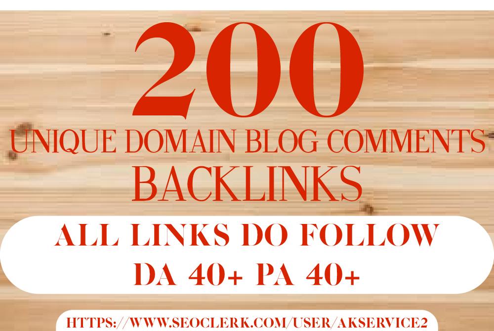 Do 200 unique domain dofollow blog comments backlinks...