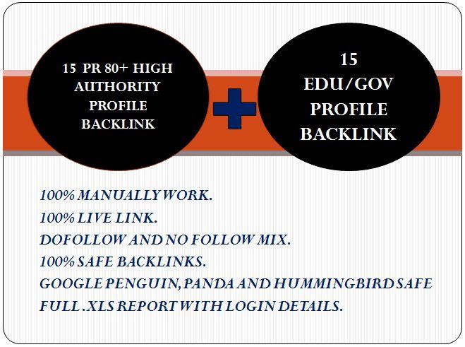 Get HQ 15 DA 80+ Profile backlink and 15 EDU/GOV Prof...