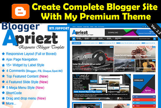 create blogger blog with premium and SEO friendly the...