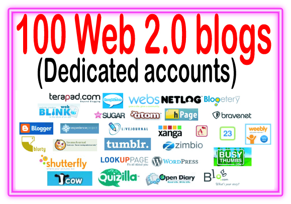 100+ Web 2.0 blogs Of High Quality backlinks for your URL and keywords