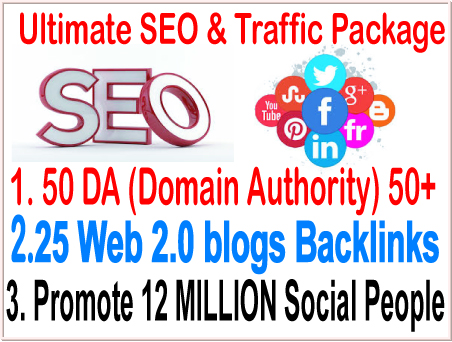 Top SEO& smm campaigns-50 DA Domain Authority 50+ Do-follow- 25 Web 2.0 blogs backlinks-Promote 12 Million social People