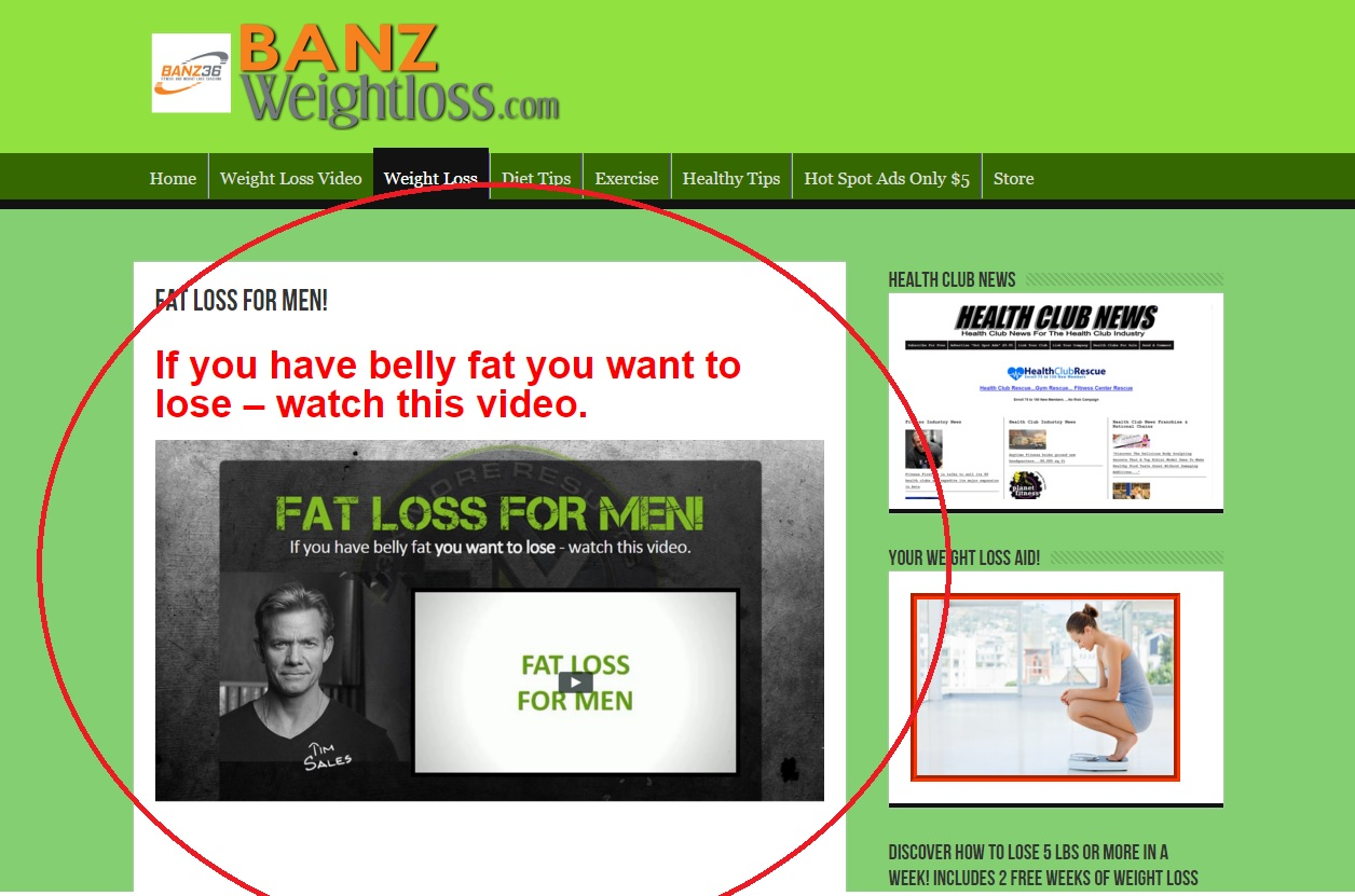 Advertise your weight loss site