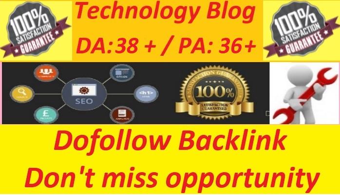 Guest post On My DA38 Tech Niche Site /Dofollow Backlink