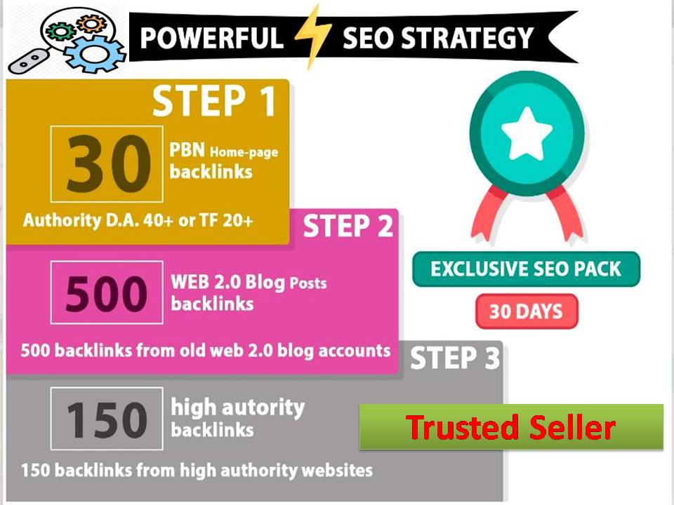 30 PBN Backlinks / DA 40 or TF 20 + 500 Web 2.0 Posts + 150 Authority profiles + Tier 2 + Tier 3