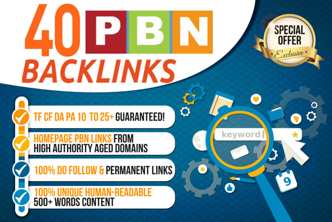 Create 40 UNIQUE HOMEPAGE PBN DA PA TF CF 20+ Backlinks